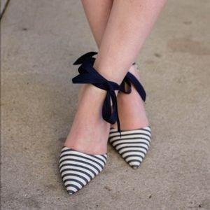 J Crew striped heel as seen on Design Darling blog